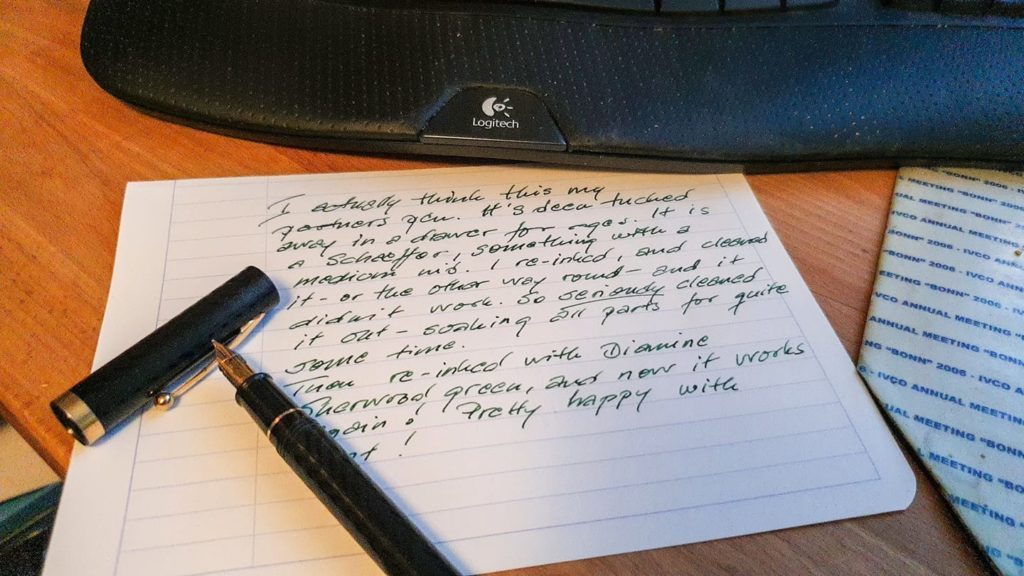 Sheaffer pen with text
